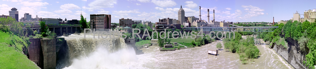 """High Falls panorama in Rochester, NY<br /> When Rochester was the """"Flour City"""", this was the center of production. As the city tranistioned to the """"Flower City"""", industries like Eastman Kodak (center) and Genesee Brewery (right) dominated. What is next?"""