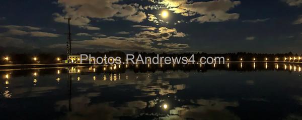 Christmas moon rises over Cobb's Hill Reservoir
