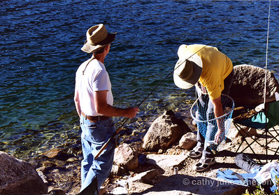 Mike and Armando pulling in their first catch Thursday afternoon at Rock Creek Lake, CA.