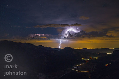 Lightning over the plains from Rocky Mountain National Park