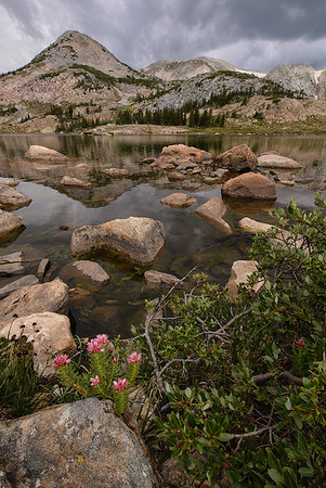 King's Crown, with storm developing. Libby Lake, Snowy Range.