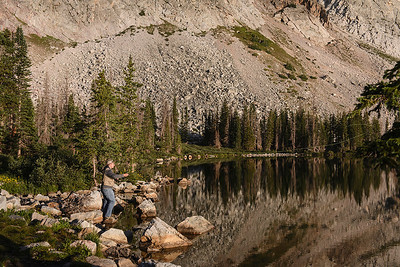 Fly fishing at Lake Marie, in the eave of Medicine Bow Peak.