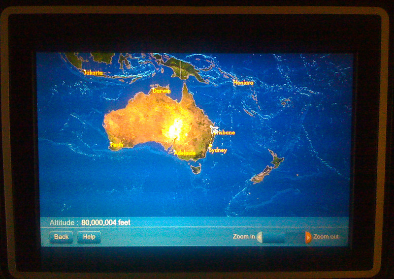 """Yes, this is an iphone picture taken of the in-flight entertainment/flight status system on my United SFO-Sydney 747 flight to Sydney, Australia.  I was a little worried when I saw this!  Yes, the altitude says 80 MILLION feet!  For those of you who don't know any better -- airlines fly at 20-40 THOUSAND feet.  Also, this would be 15,000 miles or 24,300 KM!      For more on my images, you can check out the galleries here and my Facebook Fan page here: <a href=""""http://www.facebook.com/pages/Yosemite-and-Bay-Area-Nature-Photography-by-John-Harrison/190152125697"""">http://www.facebook.com/pages/Yosemite-and-Bay-Area-Nature-Photography-by-John-Harrison/190152125697</a>"""