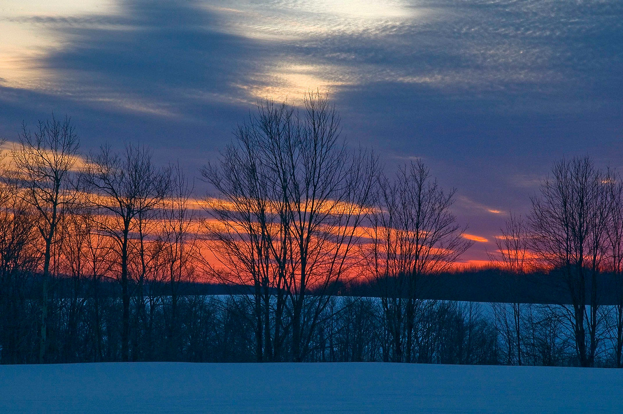 Winter Sunset in Columbus, NY
