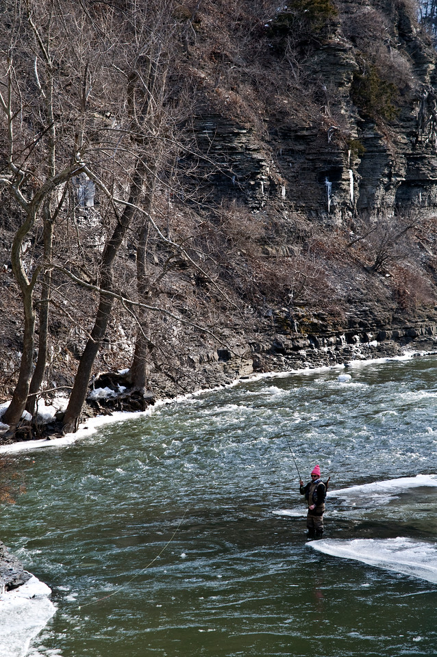 Cold Day for Fishing - Special Rainbow Trout area in Ithaca, NY.