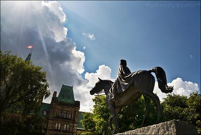 Statue of Queen Elizabeth in Ottawa, Ontario Canada.