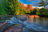 Standing in Oak Creek at sunset in Sedona, AZ