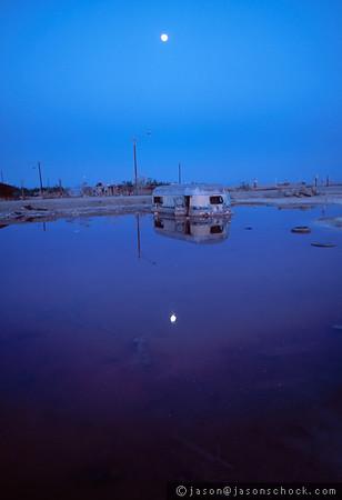 Sunken trailer at the Salton Sea