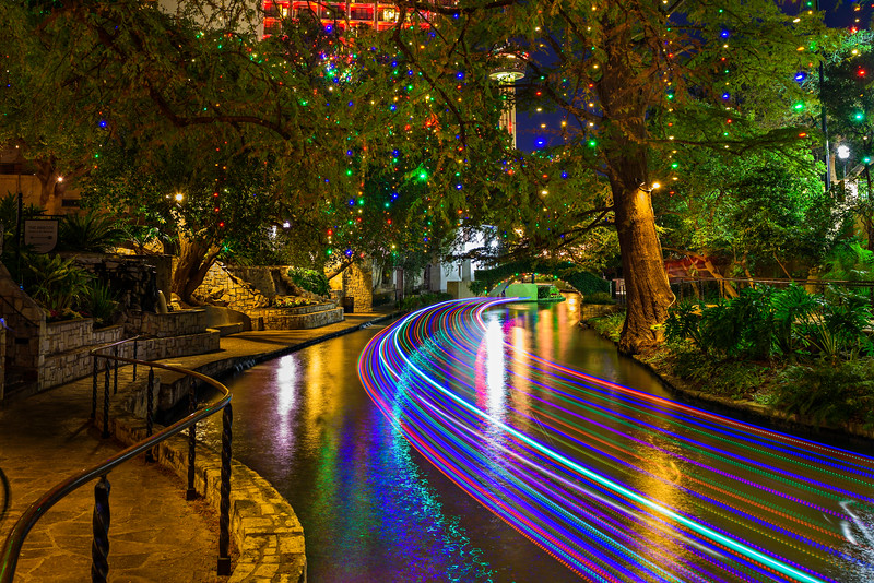 holiday lights along the riverwalk san antonio texas