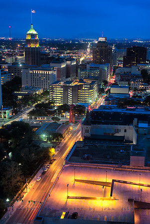 San Antonio Sky Line: This is another view, on a different night, from the 32nd floor of the Marriott overlooking San Antonio, The River Walk, and The Alamo. This was a long exposure, about 4 seconds in order to blur the moving traffic.  Nikon D600, 50mm Lens, f/2.8, 4sec, and ISO 400.