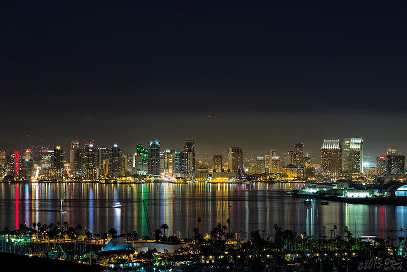 A view of San Diego from the west.  The fog was starting to get thicker and starting to obscure the lights atop of nearby San Miguel Mountain