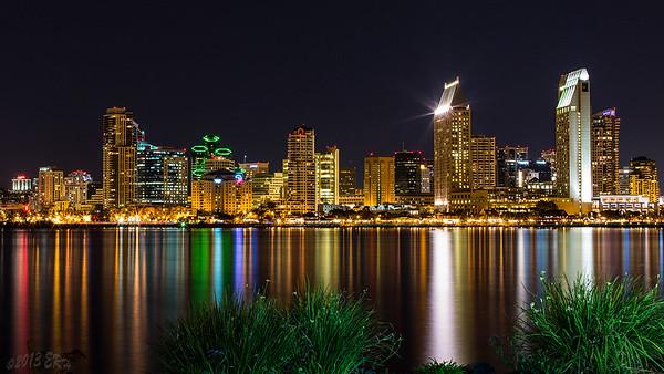 San Diego skyline after dark.