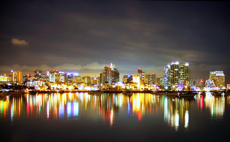 """San Diego, Night""<br /> The nighttime skyline of the city of San Diego reflected in the bay.  Mini.  Image # BD06"