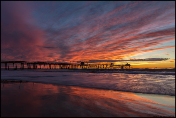 Sunset colors above and below the Imperial Beach Pier as the tide started to rise.