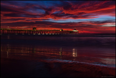 Some of the almost unbelievable reds that adorned the sky well after the sun set behind the Imperial Beach Pier.