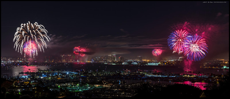 Big Bay Boom 2017 over San Diego.  Single frame cropped to a 3:1 ratio.
