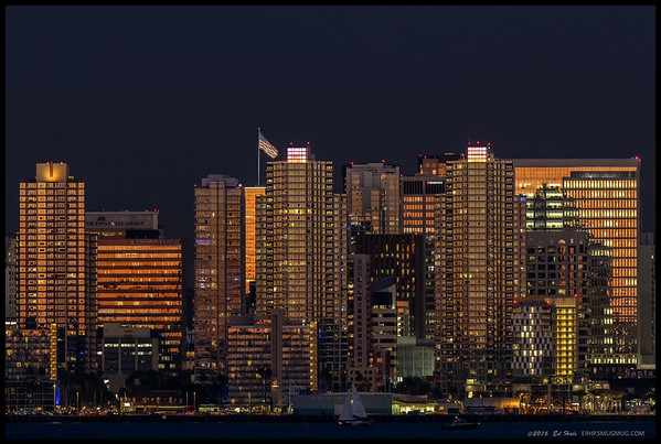 While waiting for the moon to rise, I decided to take a few closeups of portions of the San Diego skyline.