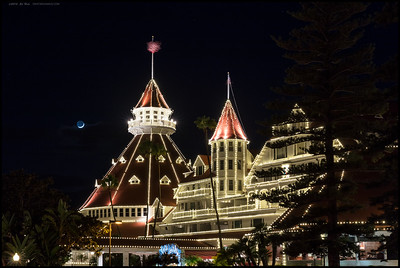 Hotel del Coronado wearing some extra lights for Christmas.