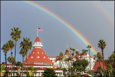 A double rainbow over the Hotel del Coronado.