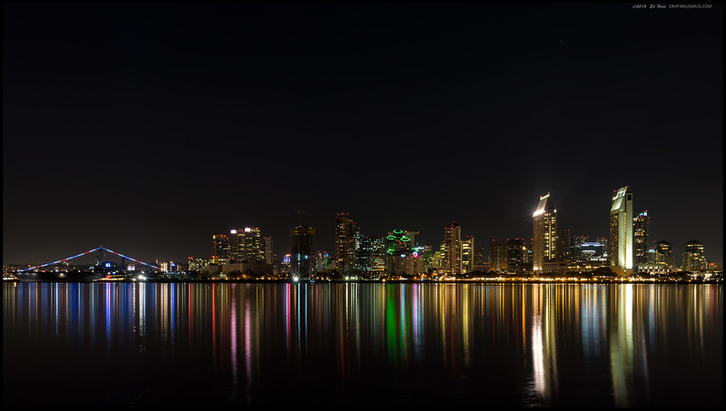 San Diego skyline from Coronado Island at low tide.  The real fun was walking in the sea grass to get as close to the water's edge as possible.  Salomon's FTW.