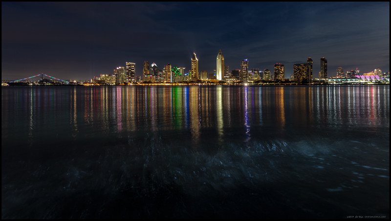 San Diego after the moon had cleared the buildings.  And the tide never stops, especially when the moon is bringing it along for a walk.