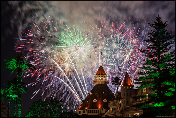 Another blast of the finale over the Hotel del Coronado.
