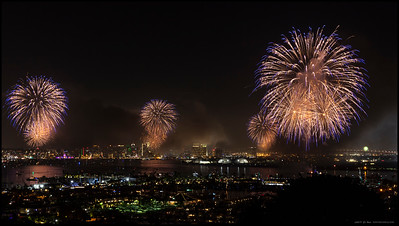 The smoke was starting to get a bit thicker when this set went off but I liked the color combination.  2019 Big Bay Boom in San Diego Bay.