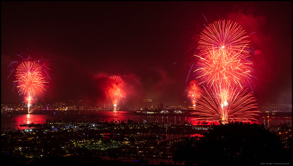 Not all the fireworks go off exactly as planned.  2019 Big Bay Boom, San Diego Bay.