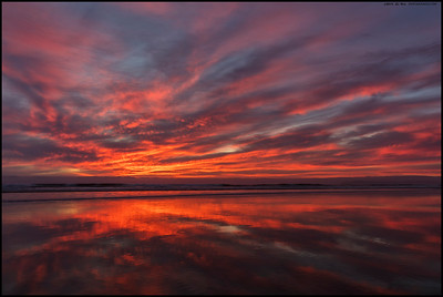 Even the fog bank sitting just off the coast couldn't stop last night's sunset.  Taken at Silver Strand State Beach.