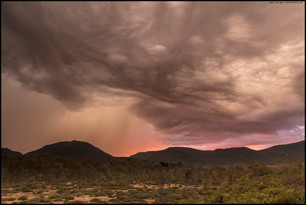 Clouds and rain over Mission Trails during Monday's storm at sunset.