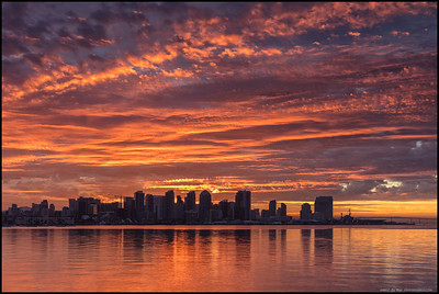 The San Diego skyline against a fairly impressive sunrise.