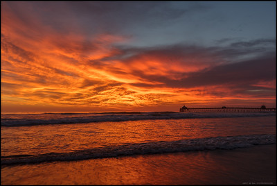 Late days at work sometimes come with their own bonus.  Fire in the sky over the Imperial Beach pier,