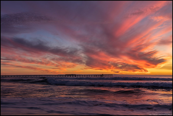 Halloween sunset over the Ocean Beach Pier.