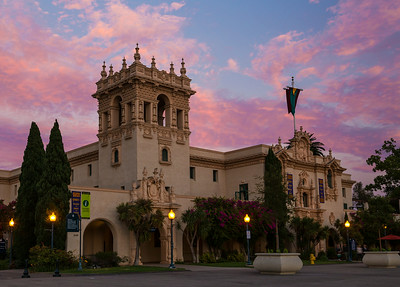 Balboa Park's House of Hospitality at sunset.
