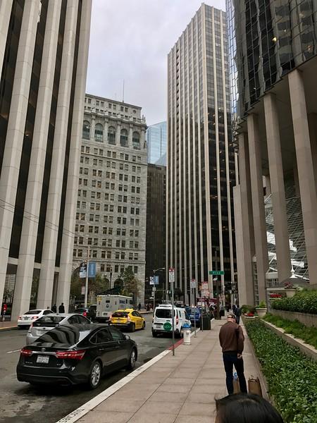 The view down Davis Street to Market Street