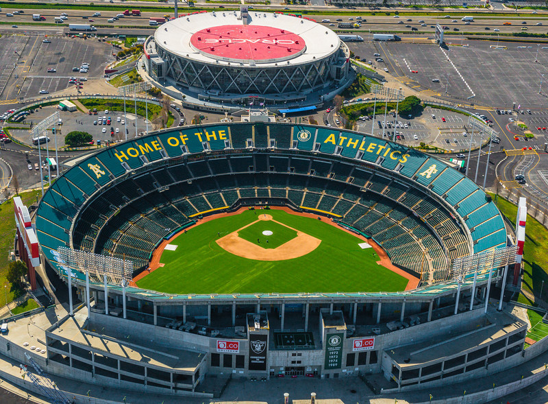 Oakland A's Baseball Stadium Aerial View.  Oracle Arena Aerial View