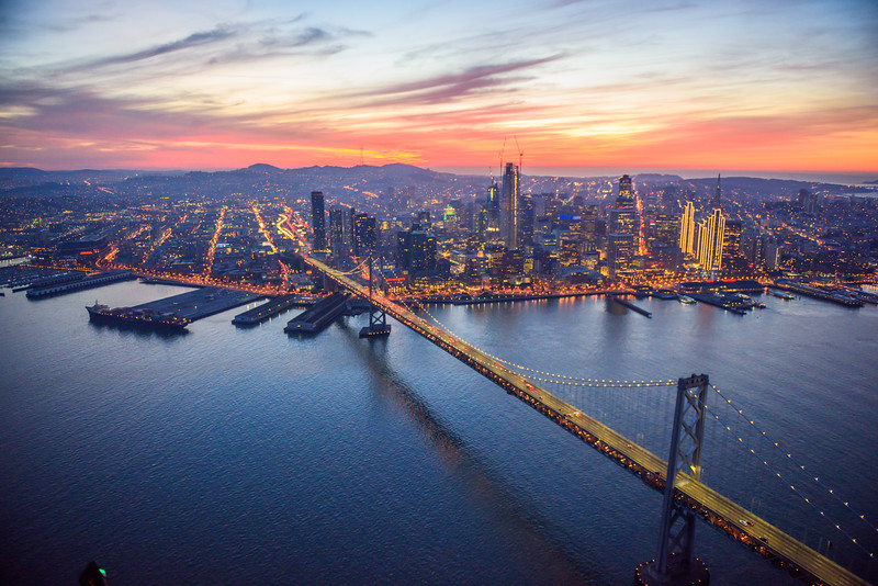 San Francisco Skyline at Dusk from the Air