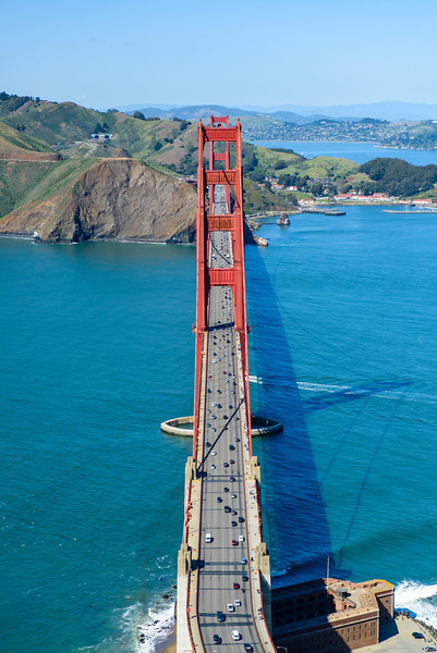 """""""View between the Towers on the Golden Gate Bridge"""" An amazing clear day in San Francisco flying over the Golden Gate Bridge in an R44 Helicopter! Just an amazing sight to see hanging out the helicopter with no doors on it! You don't get to see this view very often! Quite the trip!"""