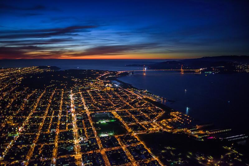 San Francisco Skyline at Dusk from the Air