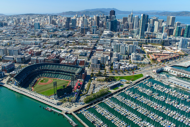 San Francisco Giants Baseball Stadium Aerial View.