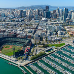 San Francisco Giants Baseball Stadium Aerial View.