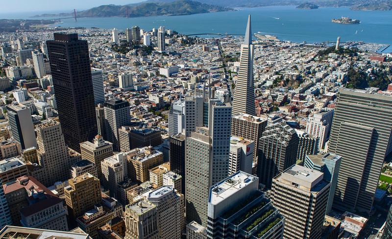 Mandarin Oriental Hotel, Transamerica Pyramid, Alcatraz and the Golden Gate Bridge