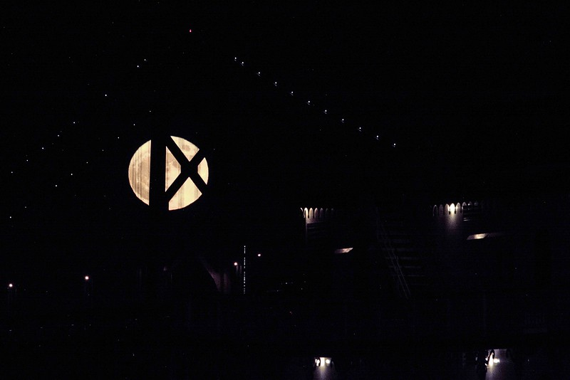 Full Moon through Bay Bridge