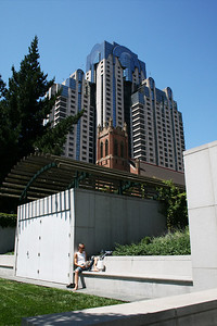 Reading below the Marriott at Yerba Buena Gardens