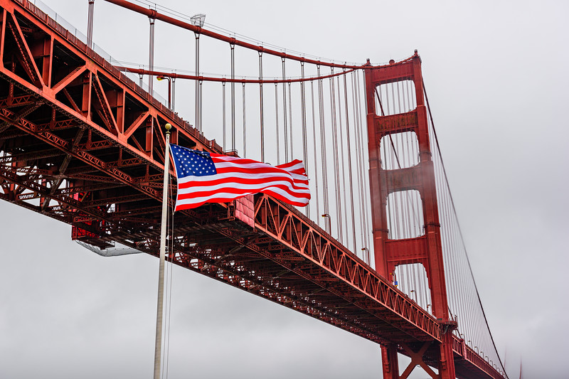 Stars and Stripes, Fog and the Golden Gate Bridge
