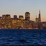 San Francisco Skyline Cityscape at Dusk from Treasure Island.  78 image gigapixel panorama.
