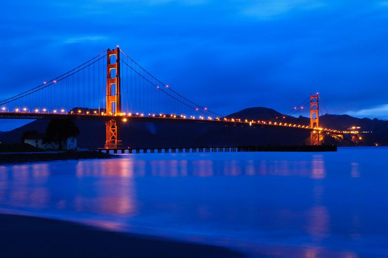 Golden Gate Bridge at Dusk.  San Francisco, California
