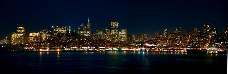 San Francisco Night Skyline and Cityscape.  Shot from Alcatraz.