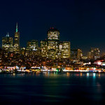 San Francisco Night Skyline and Cityscape.  Shot from Alcatraz.