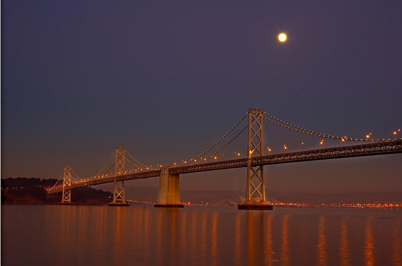Moonbeam, oakland, san francisco, bay bridge, full moon